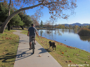 Biking along one of the many trails at Santee Lakes
