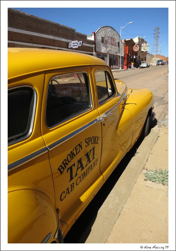 Old taxie on Erie Street in Bisbee
