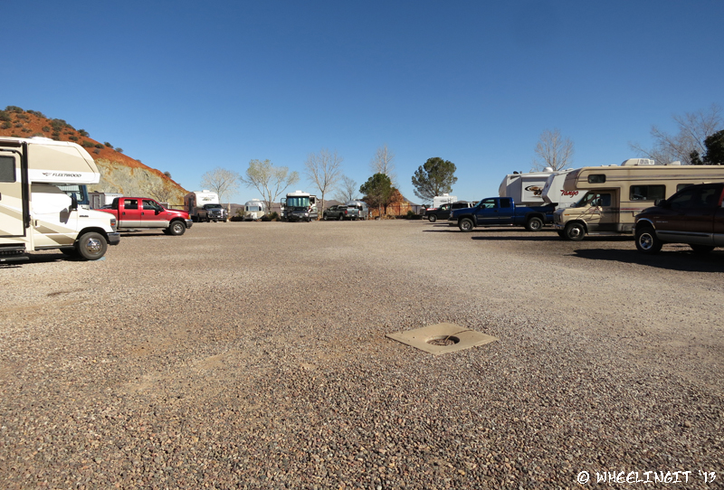 View from other end (entrance) of RV park. Site on left is best for smaller rigs.