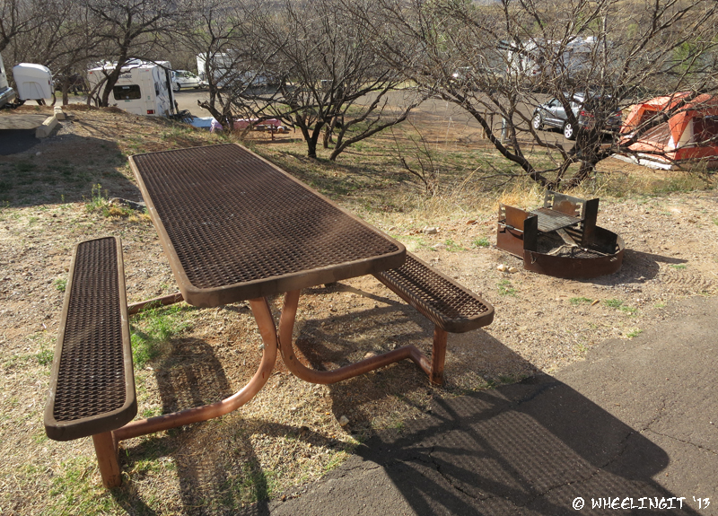 "Typical ""sitting area"" with picnic table and grill."