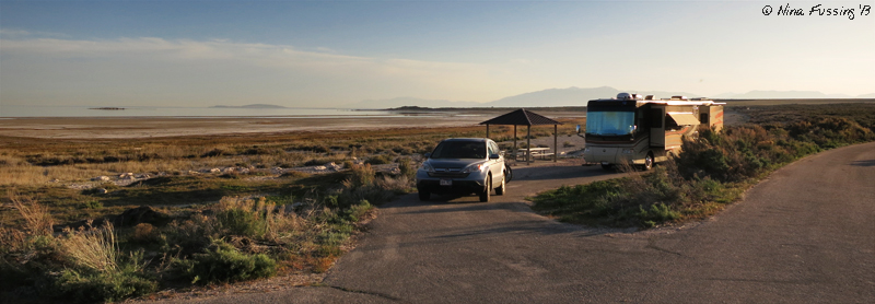 Our RV site sits lone on the shoreline