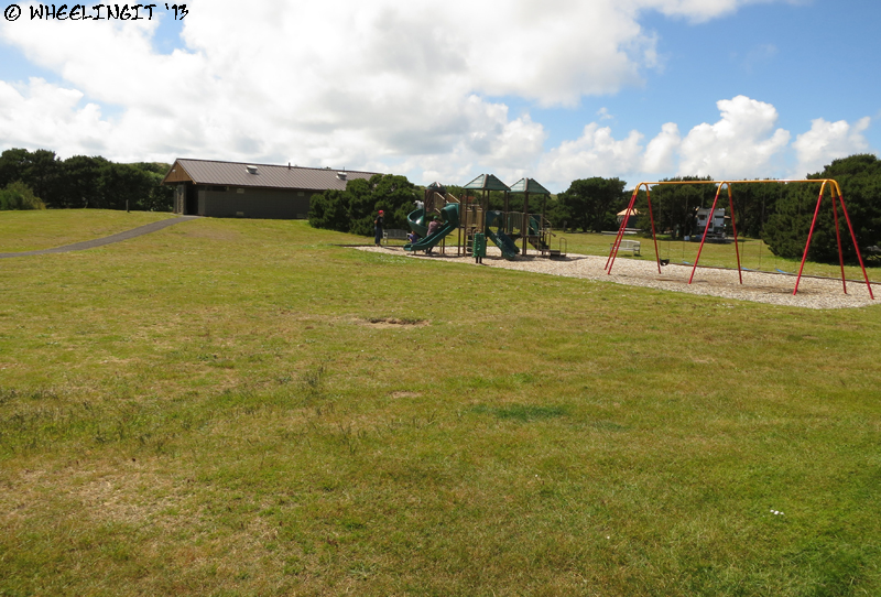 View of central playground and facilities. One in each loop.