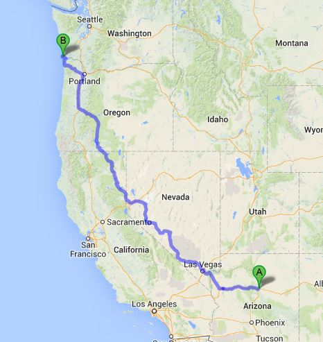 A quick plot of our winter->summer route on Google maps showed us we had ~1400 miles to travel in 3 months. A good pace! We never follow the direct route, but it gave us a starting point for our plans