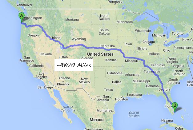 A quick Google check of FL to WA shows 3,400 miles. Would I want to do that in 3 months?