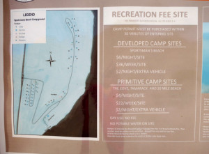 Sportsman's Beach -> View of fee structure for all Walker Lake Campgrounds