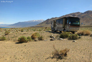 Tamarack Beach -> Front view of our site. We were alone (no other RVs here).