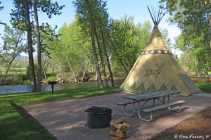 View of one of the two tee-pees where you can stay on-site