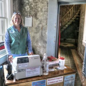 Moi manning the cash register