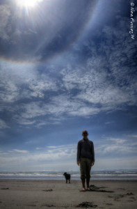 A rare sun halo on the beach