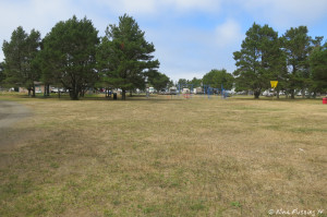 View from back of tenting area towards playground and RV sites. Lots of open space here.