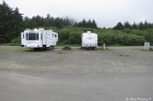 Front view of RV hookup area. There are 3 sites in this pic.