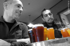 Beer tasting is serious business. Paul & Mike contemplate their catch...