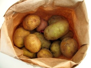 Potatoes are actually best stored in paper bags outside the fridge