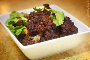 Deep purple roasted cauliflower yumminess