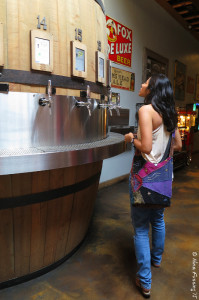 Carmen checks out the taps at Barrel Republic