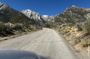 Driving up Whitney Portal Road